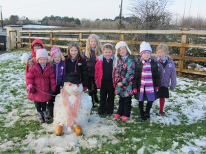 We made a snowman. Look at his shoes!