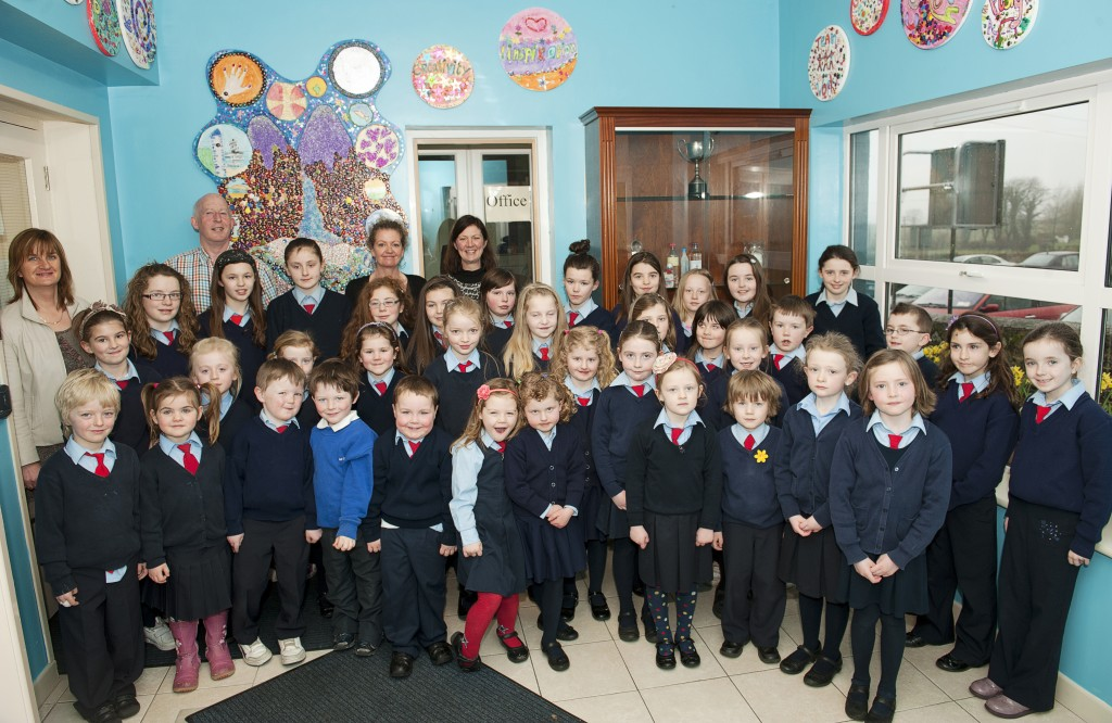 Pupils and staff with Miranda Corcoran, March 22nd, 2013